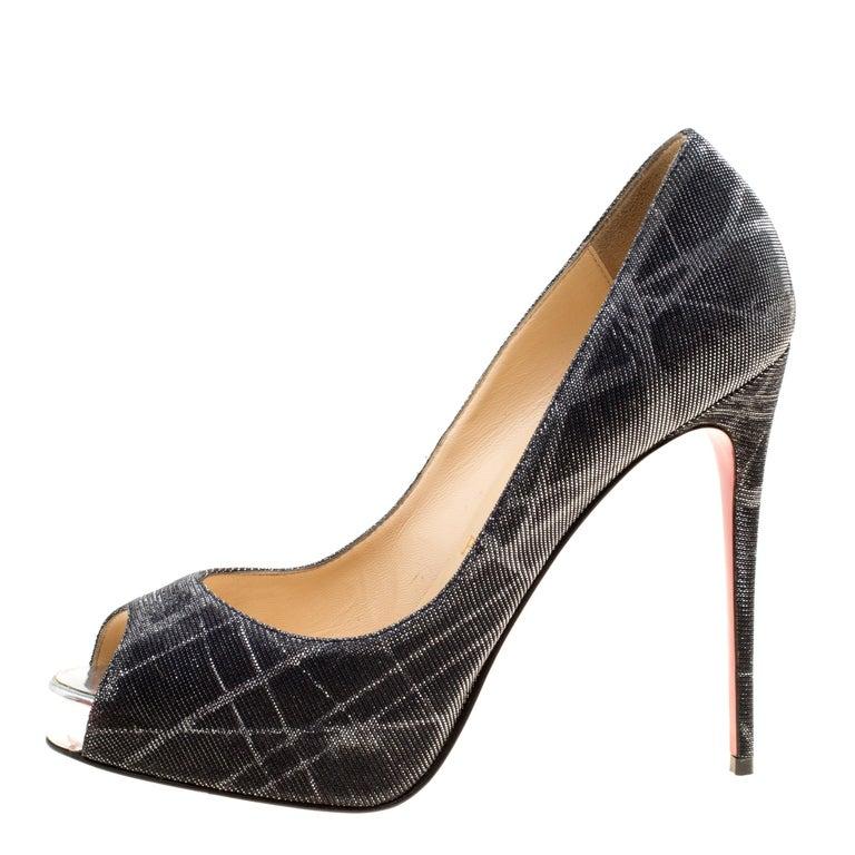 new style ea921 dca0c Christian Louboutin Metallic Grey Tissu Etincelle New Very Prive Peep Toe  Platfo
