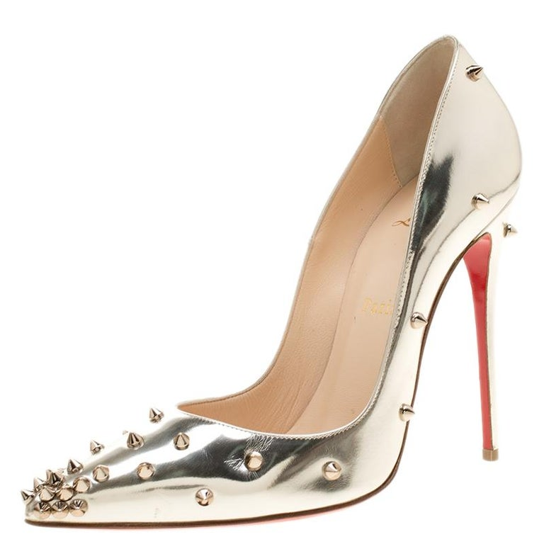 hot sale online 4356e 4f96c Christian Louboutin Metallic Mirror Finish Leather Degraspike Pointed Toe  Pumps