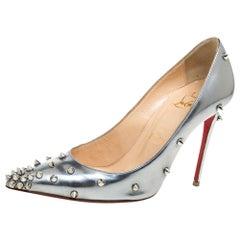Christian Louboutin Metallic Mirror Finish Leather  Pointed Toe Pumps Size 35