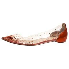 Christian Louboutin Metallic Orange Leather And PVC Pointed Toe Ballet Flats Siz