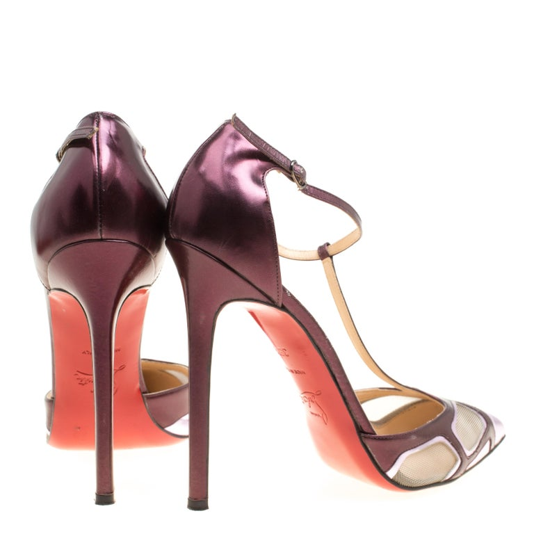 b018a38b2d89 Beige Christian Louboutin Metallic Purple Leather and Mesh Bat Girl T Strap  Pumps Size For Sale