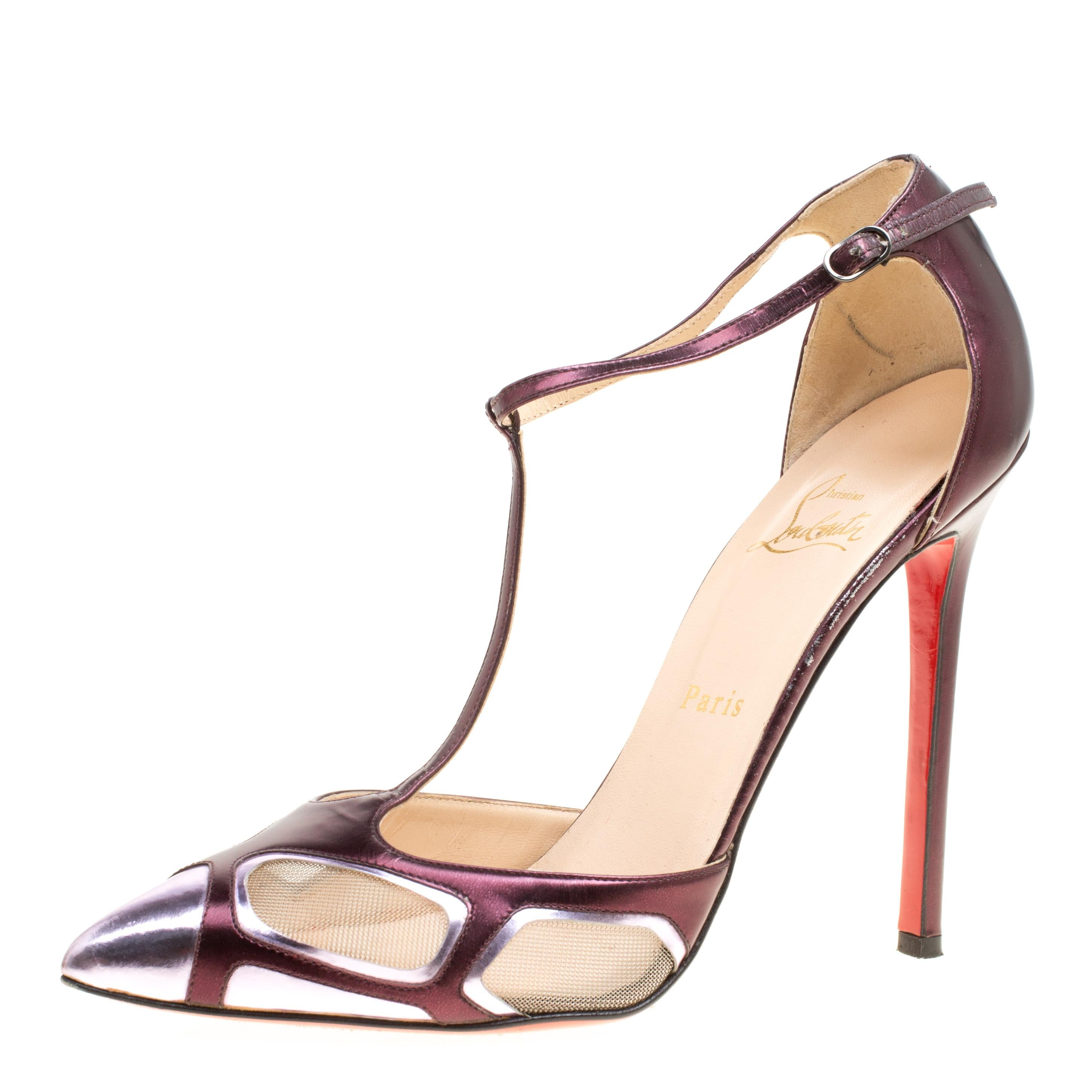 2558e4bdcc9f Christian Louboutin Metallic Purple Leather and Mesh Bat Girl T Strap Pumps  Size For Sale at 1stdibs