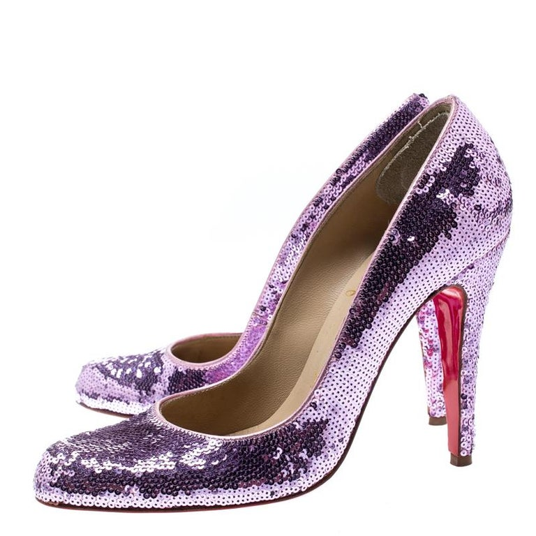more photos bbf67 29010 Christian Louboutin Metallic Purple Sequin Decollete Pumps Size 38