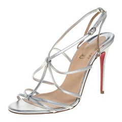 Christian Louboutin Metallic Silver Audrey Strappy Sandals Size 38.5