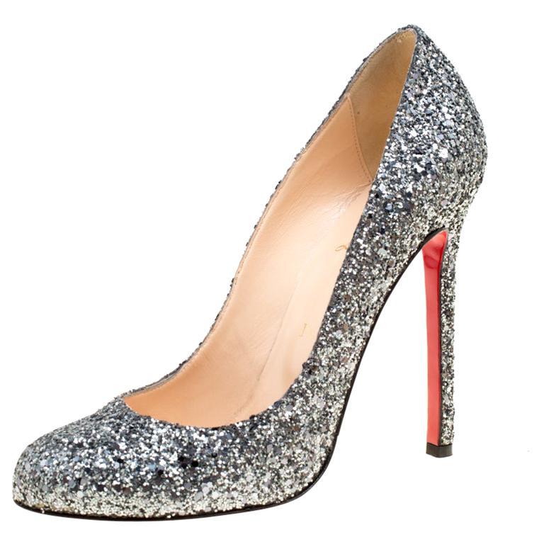 pretty nice c8955 d451d Christian Louboutin Metallic Silver Coarse Glitter Lady Lynch Pumps Size  38.5