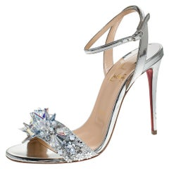Christian Louboutin Metallic Silver Fabric & Leather Ankle Strap Sandals Size 37