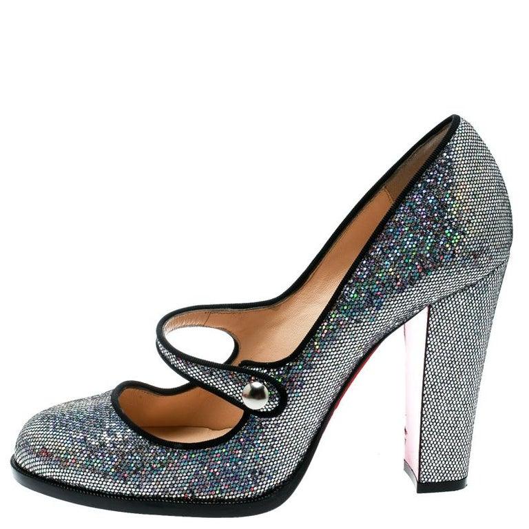 sale retailer 11fd6 2c987 Christian Louboutin Metallic Silver Glitter Fabric Mary Jane Pumps Show  Size 40