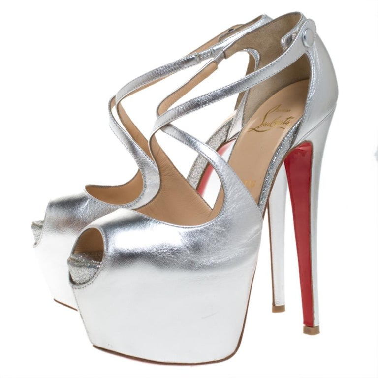Women's Christian Louboutin Metallic Silver Leather Exagona Platform Sandals Size 36.5