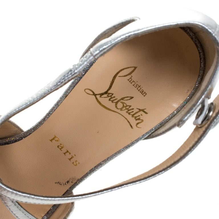 Christian Louboutin Metallic Silver Leather Exagona Platform Sandals Size 36.5 3