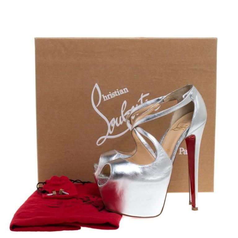 Christian Louboutin Metallic Silver Leather Exagona Platform Sandals Size 36.5 4