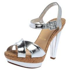 Christian Louboutin Metallic Silver Leather Lafalaise Double Sandals Size 38