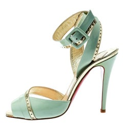 Christian Louboutin Mint Green Patent Leather Escatin Cross Ankle Strap Sandals
