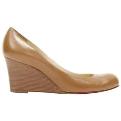 CHRISTIAN LOUBOUTIN Miss Boxe brown leather round toe stacked wooden wedge EU40