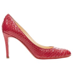 CHRISTIAN LOUBOUTIN Miss Gena 85 red glossy scaled leather almond toe pump EU38