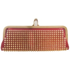 Christian Louboutin Miss Loubi Red Patent w/ Gold Tone Stud Clutch Bag