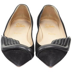 CHRISTIAN LOUBOUTIN Miss Mars black suede quilt leather wings pointy flats EU39