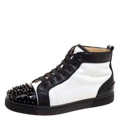 Christian Louboutin Monochrome Leather Lou Crystal Embellished Spikes Orlato Sne