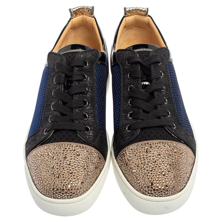Black Christian Louboutin Multicolor And Leather Louis Junior Low Top Sneakers Size 42