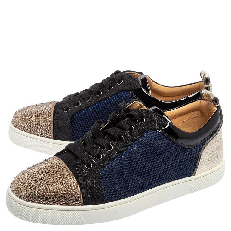 Men's Christian Louboutin Multicolor And Leather Louis Junior Low Top Sneakers Size 42