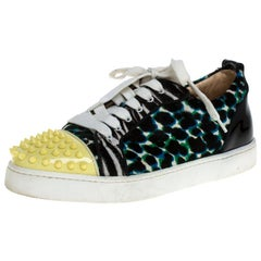 Christian Louboutin Multicolor Calf Hair Junior Spike Sneakers Size 37