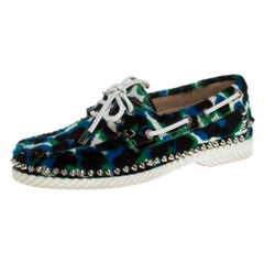 Christian Louboutin Multicolor Calf Hair Steckel Spiked Loafers Size 36