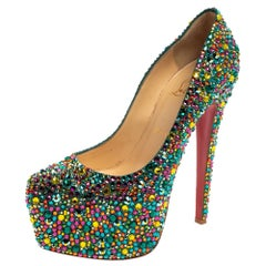 Christian Louboutin Multicolor Crystal Daffodile Platform Pumps Size 38