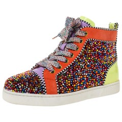 Christian Louboutin Multicolor Crystal Embellished Suede And Patent Size 35