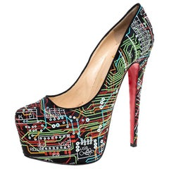 Christian Louboutin Multicolor Embroidered Satin Sequins Platform  Size 38