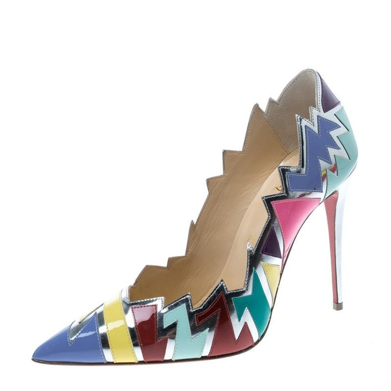 a8fe1b321db9 Multicolor Jagged Leather Explotek Pointed Toe Pumps Size 38.5 For Sale