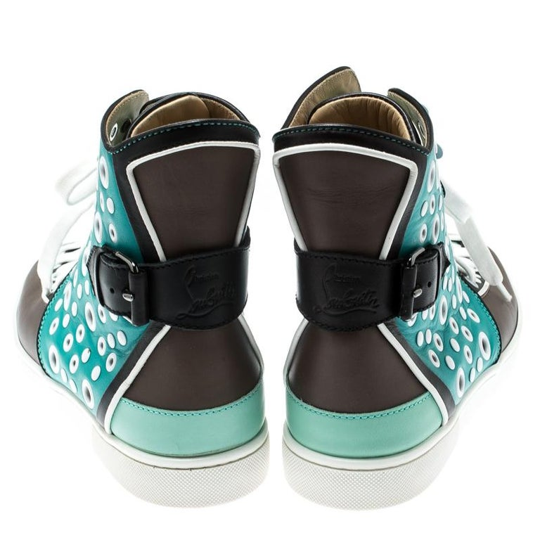 Blue Christian Louboutin Multicolor Leather Alfibully High Top Sneakers Size 40.5 For Sale