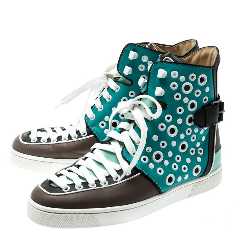 Women's Christian Louboutin Multicolor Leather Alfibully High Top Sneakers Size 40.5 For Sale