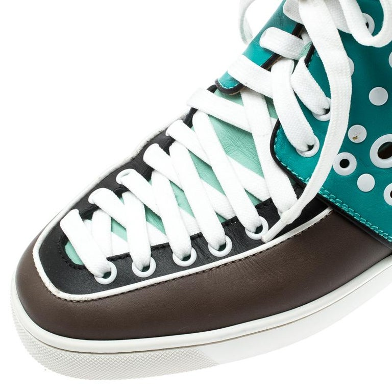 Christian Louboutin Multicolor Leather Alfibully High Top Sneakers Size 40.5 For Sale 1