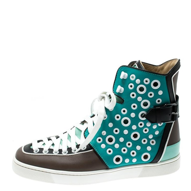 Christian Louboutin Multicolor Leather Alfibully High Top Sneakers Size 40.5 For Sale 2