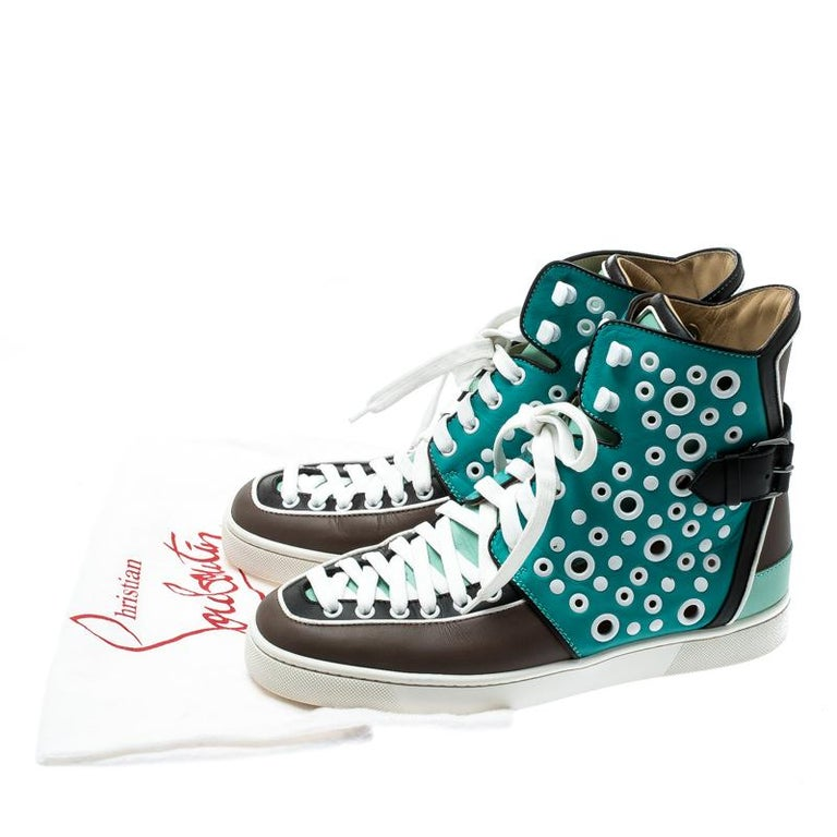 Christian Louboutin Multicolor Leather Alfibully High Top Sneakers Size 40.5 For Sale 3