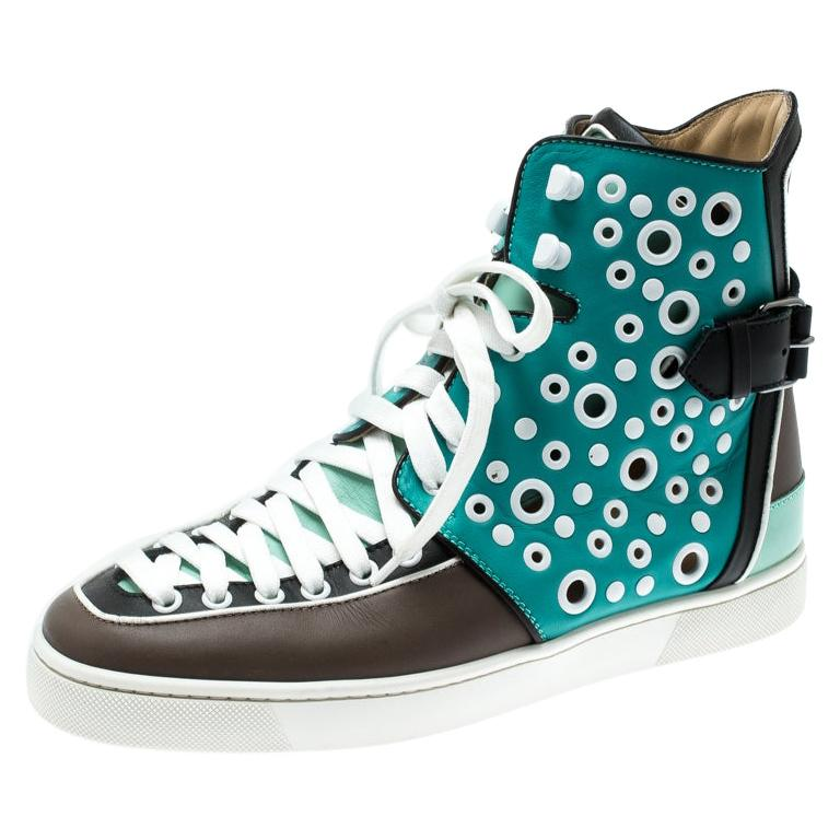 Christian Louboutin Multicolor Leather Alfibully High Top Sneakers Size 40.5 For Sale
