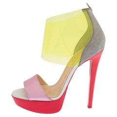 Christian Louboutin Multicolor Leather And PVC Dufoura Platform Sandals Size 36