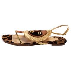 Christian Louboutin Multicolor Leather And Raffia Rastafari Flat Sandals Size 38