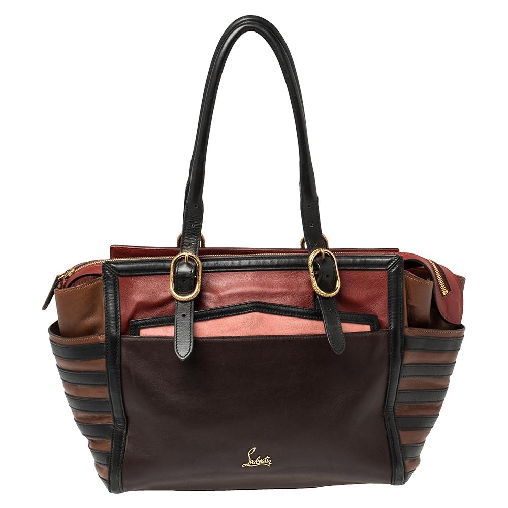 Christian Louboutin Multicolor Leather Buckle Tote