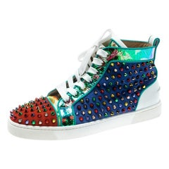 Christian Louboutin Multicolor Leather Louis Spikes High-Top Sneakers Size 40