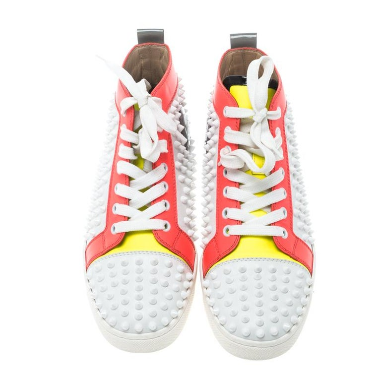 c8f567df4f0 Christian Louboutin Multicolor Leather Louis Spikes Lace Up High Top  Sneakers Si