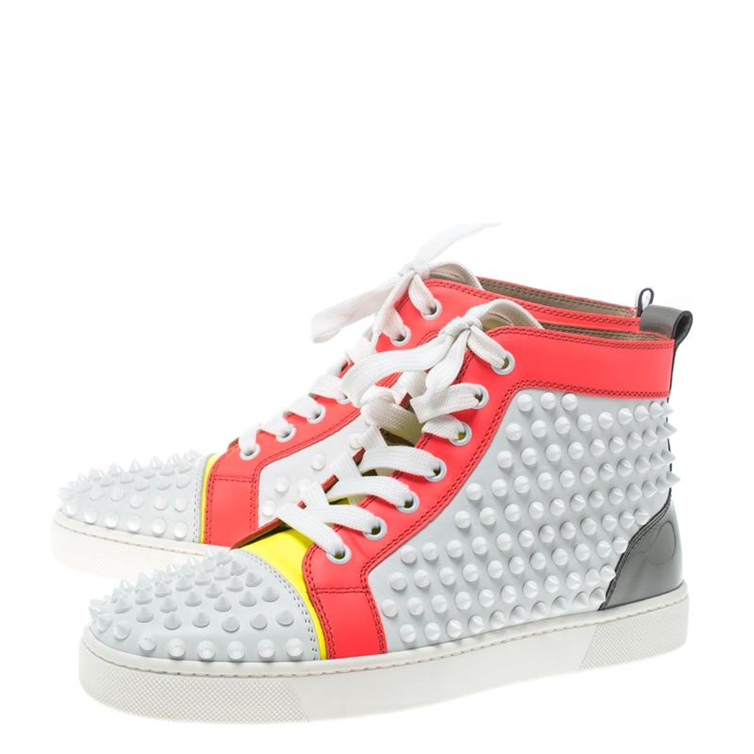 2c239e4b174 Christian Louboutin Multicolor Leather Louis Spikes Lace Up High Top  Sneakers Si For Sale at 1stdibs