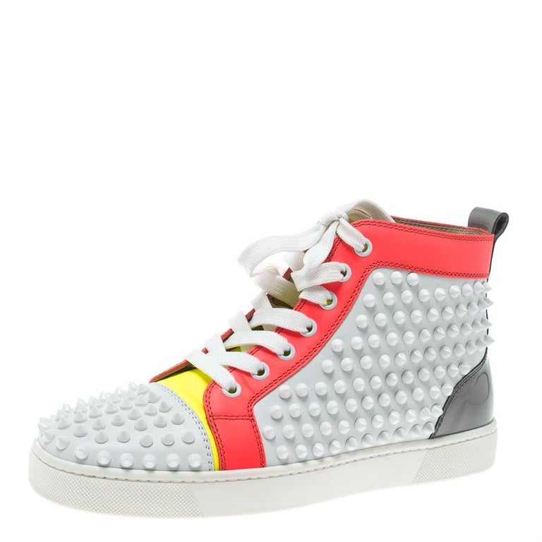 bdd00b50d4db Christian Louboutin Multicolor Leather Louis Spikes Lace Up High Top  Sneakers Si For Sale at 1stdibs