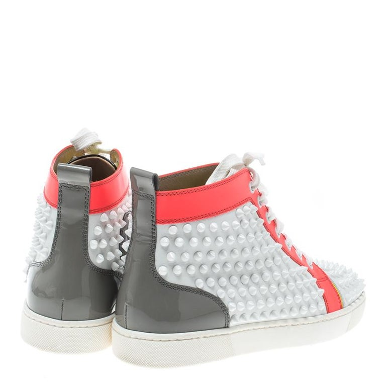 san francisco 6c079 120a3 Christian Louboutin Multicolor Leather Spikes Lace Up High Top Sneakers  Size 38