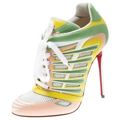 Christian Louboutin Multicolor Mesh Boltina Trainer Booties Size 39.5