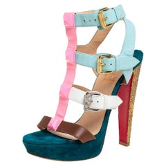 Christian Louboutin Multicolor Patent And Leather Rocknbuckle Sandals Size 38.5