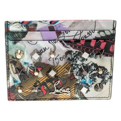 Christian Louboutin Multicolor Print Patent Leather Kios Spiked Card Holder