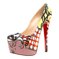 Christian Louboutin Multicolor Printed Fabric Daffodile Platform Pumps Size 36.5