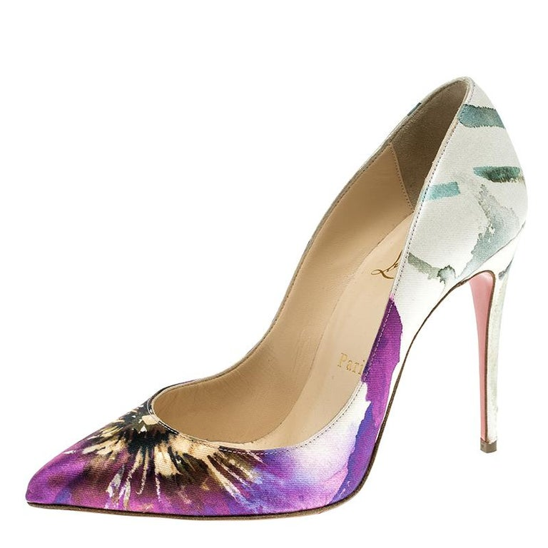 8cc9f09a1b8 Christian Louboutin Multicolor Printed Satin Pigalle Follies Pumps Size 36  For Sale
