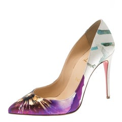 Christian Louboutin Multicolor Printed Satin Pigalle Follies Pumps Size 36.5