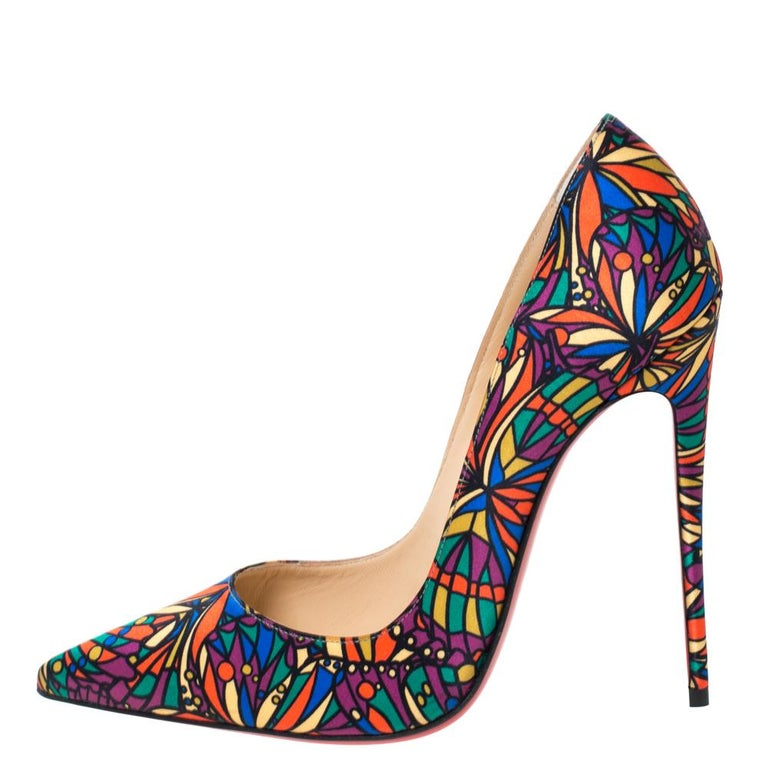 Christian Louboutin's one of the most loved styles is So Kate, named after English model and actress, Kate Moss. These So Kate pumps come in multicolored hues and are rendered in printed satin, flaunting well-cut vamps and high stiletto heels that